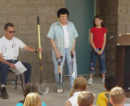 Aggie teaching a class on Arbor Day in 2002.